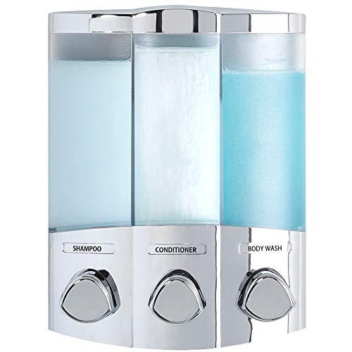Better Living Products 76344-1 Euro Series TRIO 3-Chamber Soap and Shower Dispenser, Chrome