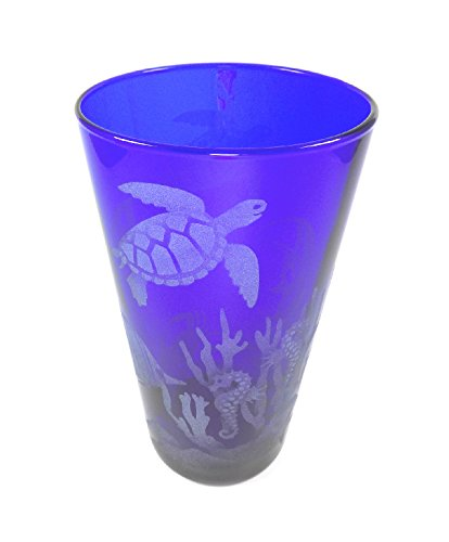 IncisoArt Hand Etched 17.25 Ounce Cobalt Blue Cooler Glass Goblet Sandblasted (Sand Carved) Ocean Scenery with Dolphin, Tropical Fish, Sea Turtles, Seahorse, Seaweed, Crab etc.  (Goblet Fish Design)