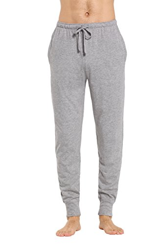 CYZ Men's Cotton Knit Lounge Pants with Drawstring-Grey Melange-S by CYZ Collection