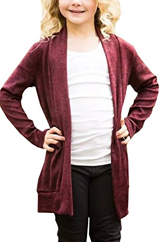 Geckatte Girls Boyfriend Cardigan Open Front Long Sleeve Fall Lightweight Knit Sweater Coat Jacket (Cardigan Girls Long)