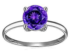 Star K 7mm Round Genuine Amethyst Solitaire Engagement Ring 14 kt White Gold Size 4