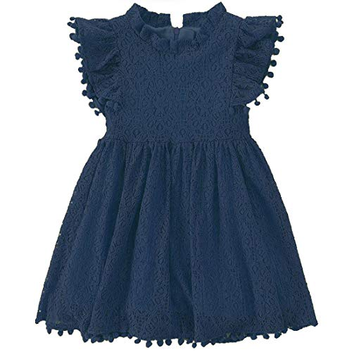 Niyage Toddler Girls Elegant Lace Pom Pom Flutter Sleeve Party Princess Dress Navy Bule 100