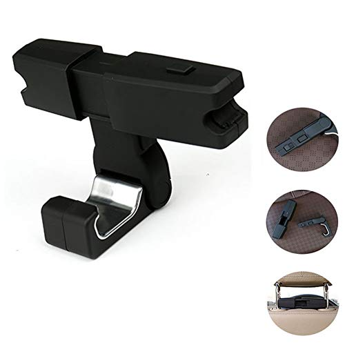 Car Headrest Hook with Mobile Phone Seat Back Hanger Handbag Wallet Grocery Cloth Portable Multi-Function Clip Storage Bag (Single)