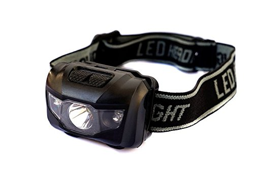 LED Headlamp Flashlight, 180 Lumens 5 Modes, White and Red Light Switches, Waterproof(IPX4), Lightweight(1.6oz), Magnetic Lantern Box and 3 AAA Duracell Batteries Included