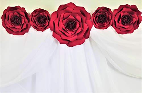 DecorInTheBox - Handmade 5 Piece Paper Flower Set Wall Decor, Fully Assembled, Baby Shower,Nursery Decoration, Home Decor, Birthday, Wedding Artificial Paper Flower Set … (Dark Red) ()