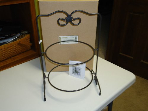 (Longaberger Basket Wrought Iron Two Pie Pottery Server Rack New in)