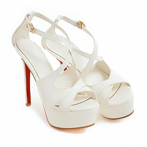 Mee Shoes Women's Fashion Stiletto Ankle Strap Buckle Platform Sandals Shoes White Hc2p65