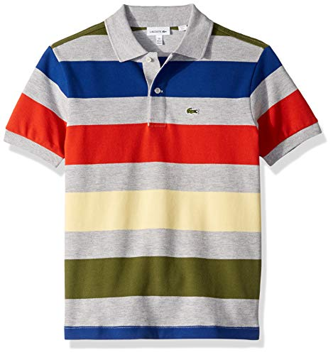 Lacoste Big BOY Colorful Striped Pique Polo, Silver Chine/Multi, 16YR