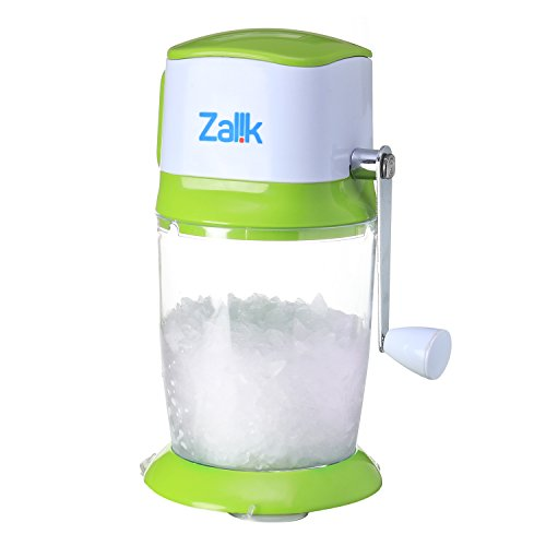 Zalik Ice Crusher Manual Hand Crank Ice Grinder For Fine Or Coarse Pieces   Strongest Heaviest Duty With Large 50 Oz Bucket   430 Stainless Steel Blade   Essential Kitchen Tool   Bar Accessory