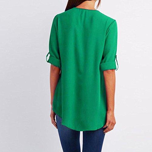 Casual Tops pour Long Manches T Shirt Chic V Chemisier Longues Dcontracte Top Mousseline Col Vert Moonuy Haut Femme YCUqz5xp