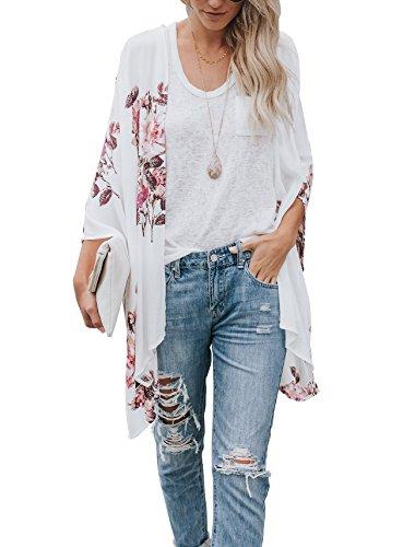 Floral Find Women's Floral Printing Chiffon Cardigan Kimono Beachwear Cover Up (Medium, White)