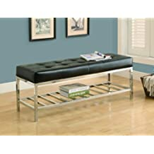 Monarch Specialties Leather-Look/Chrome Metal Bench, 48-Inch, Black