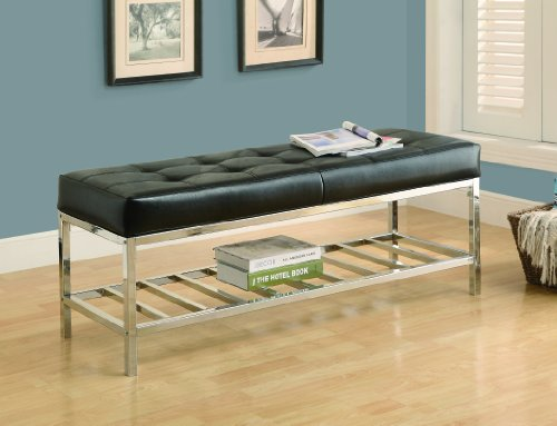 Monarch Leather-Look/Chrome Metal Bench, 48-Inch, Black - Black Leather Bench