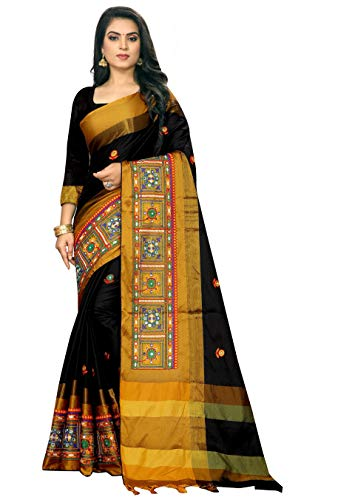 SERONA FABRICS Women's Cotton Silk Saree With Blouse Piece