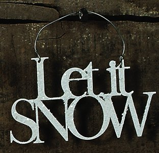 Primitives By Kathy 4.75 Inches White Glitter Let It Snow Word Tin Hanging Ornament -