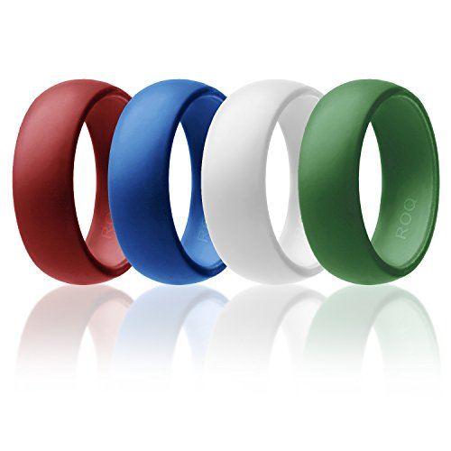 Silicone Wedding Ring For Men By ROQ Affordable Silicone Rubber Band, 4 Pack -Olive Green, White, Red, Blue - Size (Red Wedding Ring)
