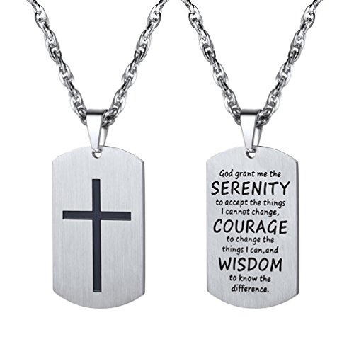PROSTEEL Cross Pendant Necklace Men Women Jewelry Inspirational Military Dog Tag Dogtag Stainless Steel Cross ()