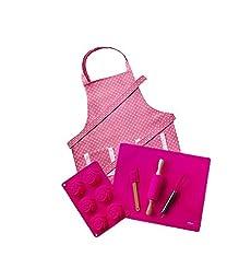 Personalized Pink & White Polka Dot Kids Baking Set with Apron by Dikor