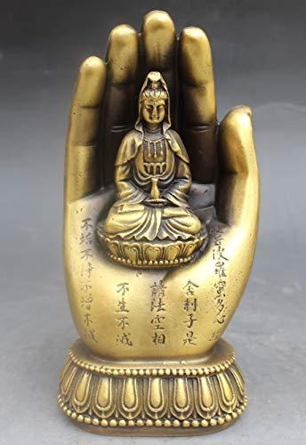 Viet JK Brass Statue - Chinese Chinese Buddhism Bronze Kwan-Yin Bodhisattva Goddess Hand Buddha Statue 1 Pcs - Laughing Buddha Statue White - Ceramic Buddha Statue