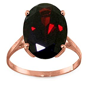 Galaxy Gold 14K Solid Rose Gold Solitaire Ring 6 Carat Oval Natural Garnet (7.5)