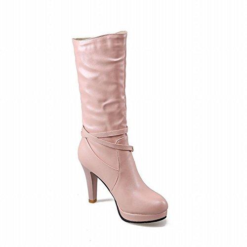 Latasa Womens Ladylike Beaded Strap Pleated Platform High Heel Mid Calf Dress Boots Pink pZp0m