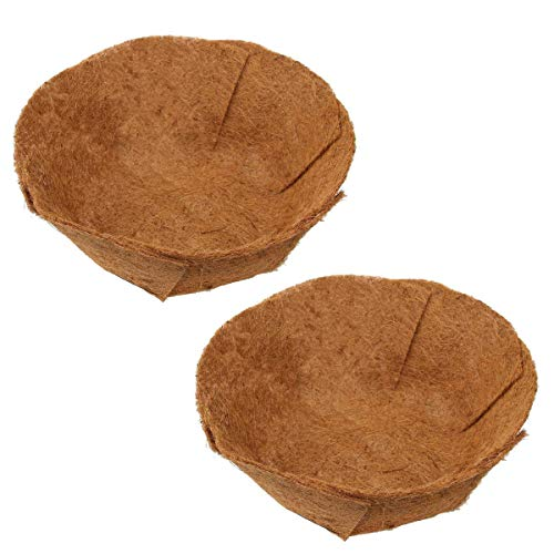 2 Pack Coco Liner 16 Inch Round,Adjustable Fold Coco Fiber Replacement Liners for Eggshell Hanging Wall Iron Flowers Basket