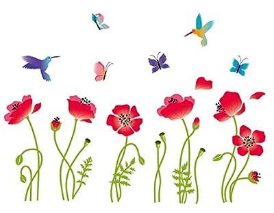 Radiant Poppies Decorative Peel & Stick Wall Art Sticker Decals