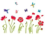 Best Birds Stickers For Wall Arts - Radiant Poppies Decorative Peel & Stick Wall Art Review