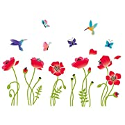 Radiant Poppies Decorative Peel & Stick Wall Art Sticker Decals