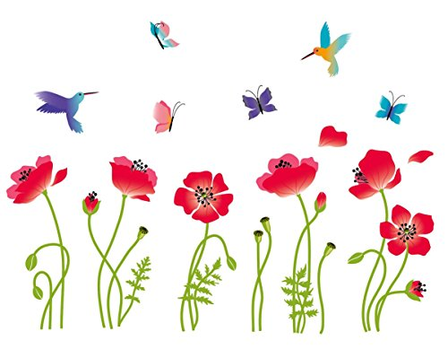 Radiant Poppies Decorative Peel & Stick Wall Art Sticker Decals (Knob Design Flower Petal)