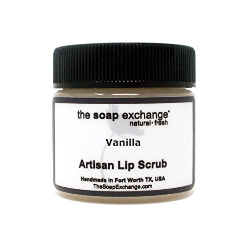 The Soap Exchange Lip Scrub - Vanilla Flavor - Hand Crafted 1.5 oz / 42.5 g Natural Lip Care, Artisan Lip Treatment, Exfoliate, Hydrate, & Protect. Made in the USA.
