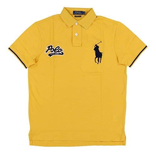 Polo Ralph Lauren Mens Custom Slim Fit Big Pony Polo Shirt (L, Yellow) 9c04d6ada79