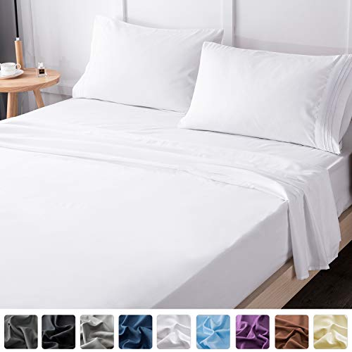 LIANLAM Queen Bed Sheets Set - Super Soft Brushed Microfiber 1800 Thread Count - Breathable Luxury Egyptian Sheets 16-Inch Deep Pocket - Wrinkle and Hypoallergenic-4 Piece(Queen, White) - New Satin Sheets 4 Piece
