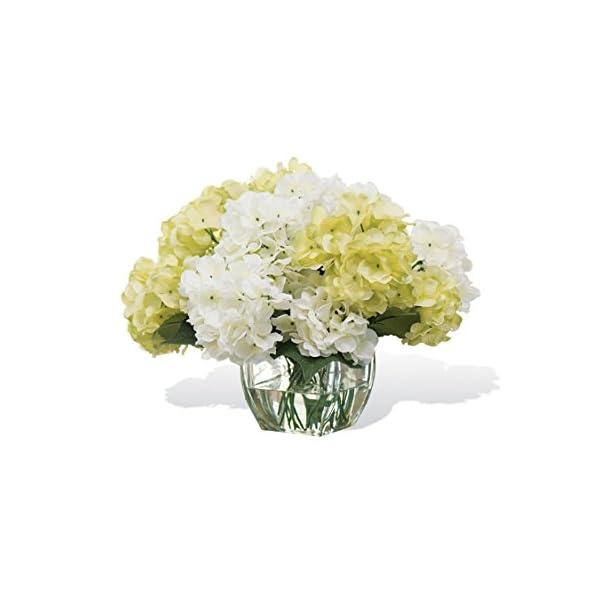 Petals Silk Hydrangea Centerpiece – White Green