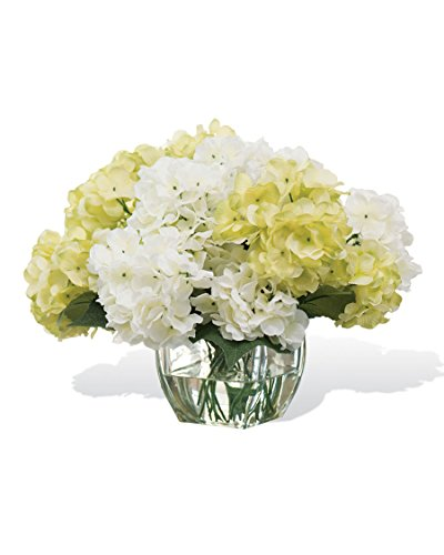 Petals Silkflowers Silk Hydrangea Centerpiece - White Green