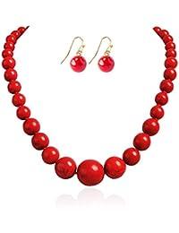 Round Beads Turquoise Necklace Bib Chunky Fashion Jewelry