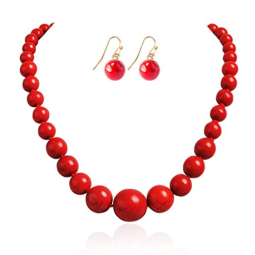 JANE STONE Fashion Simulated Turquoise Red Beads Necklace Statement Bib Jewelry Set for Women(Fn1270-set) ()