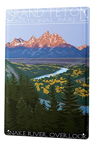 Joeaney New Tin Sign Aluminum Retro Adventurer Grand Teton National Park for Men, Women, Unisex 8 X 12 Inch