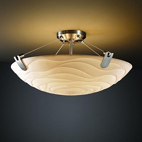 Justice Design Group PNA-9617-25-WFAL-MBLK Porcelina Collection Semi-Flush Bowl with U-Clips, 48