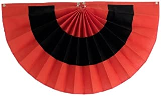 "product image for Independence Bunting - Fully Sewn American Made Halloween Pleated Fan Flag Bunting (Nylon - Orange/Black/Orange, 36"" x 72"")"