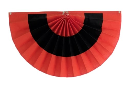Independence Bunting - Fully Sewn American Made Halloween Pleated Fan Flag Bunting (PolyCotton - Orange/Black/Orange, 18