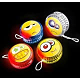 "2"" FLASHING EMOTICON EMOJI SMILE FACE YOYO ASSORTMENT 12 PACK, 1 DOZEN"