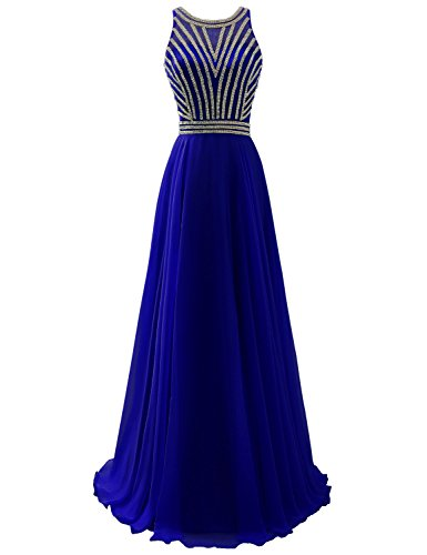 Sarahbridal Women's Scoop Neckline Beaded Long Chiffon Prom Dresses Bridesmaid Gowns Royal Blue US4
