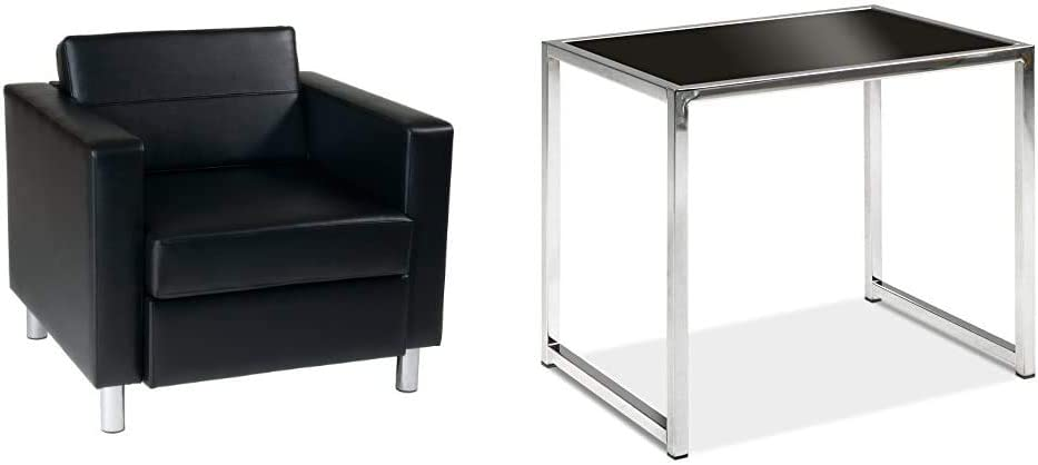 OSP Home Furnishings Pacific Arm Chair, Black & End Table with Chromed Steel Base, Black Glass Top