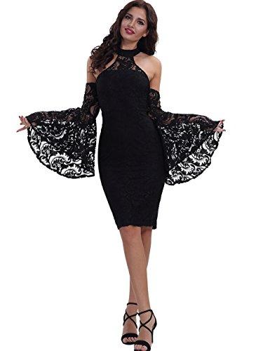 Adyce Damenbandagekleid schwarze spitze zugestopft cocktail kleid ...