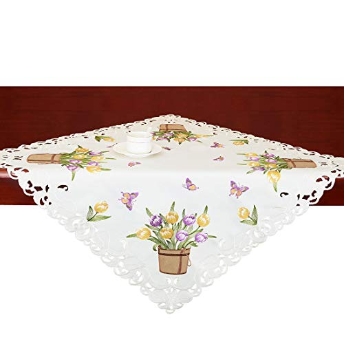 (Simhomsen Small Embroidered Tulip and Butterfly Square Tablecloth, Spring Floral Table Toppers for Easters, Tablecovers for End Table, Tea Table, Coffee Table and Nightstand (33 × 33)