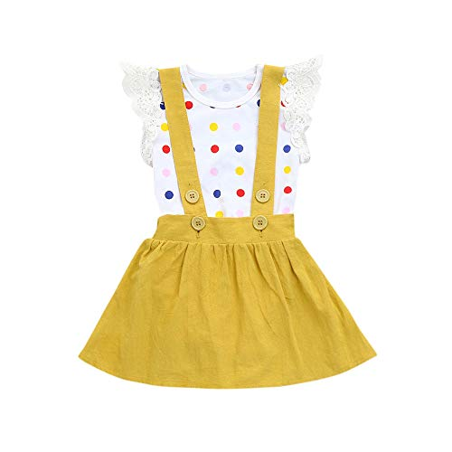 Mysky Fashion Infant Kids Baby Girls Summer Popular Floral Print Rompers+Pure Color Strap Skirt Outfits Set