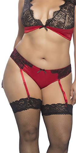 Musotica Sexy Plus Size Satin Ruched Panty With Eyelash Lace and Removable Garters - Red/Black - 4X (Garter Satin Ruched)