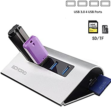 Amazon.com: USB de 4 puertos USB 3.0 Hub Lector de Tarjeta ...