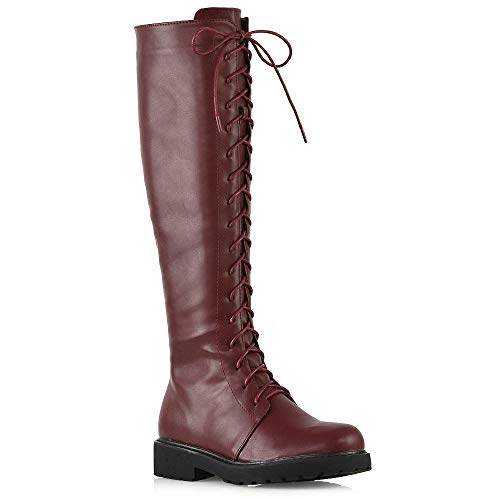 ESSEX GLAM Womens Lace Up Knee High Boots Ladies Burgundy Synthetic Leather Calf Zipper Winter Military Combat Biker Shoes 8 B(M) US